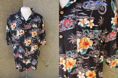 Black Hawaiian Shirt by Island Connection by GeekGirlRetro on Etsy