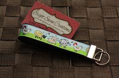 Farm/Barnyard print hands-free key fob wristlet key chain - ready to ship $6 www.brightswancreations.etsy.com