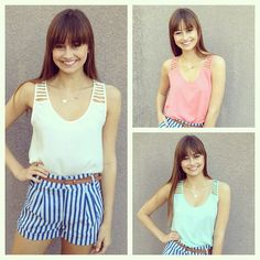 These high waisted striped shorts are right on trend with these solid color tanks. The tanks come in coral, cream, and mint. Shorts $36.95 Tanks $32.95