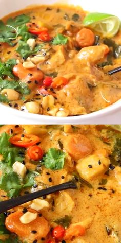 Healthy vegan peanut stew recipe with potatoes, tomatoes and meaty soy curls (no chicken,) spiced with garlic and ginger in a creamy peanut butter, tomato and coconut milk broth. Finish with a fresh hit of lime, salty peanuts and fresh herbs. Easy Soup Recipes, Vegan Recipes, Dinner Recipes, Fall Vegetarian Recipes, Pork Recipes, Salad Recipes, Vegetable Soup Healthy, Healthy Vegetables, Veggies