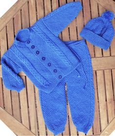 Baby infant boy toddler hand knitted blue traditional matinee outfit of jacket / cardigan trousers / legging / pants, pom pom hat pram set. by bebbyjumpers on Etsy