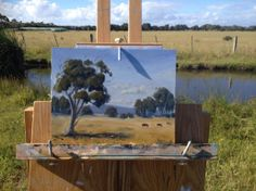 """Plein Air painting in Leopold. 8"""" x 10"""" oil on board. Click to read the blog post and see progress photos."""