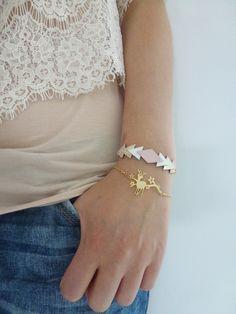 Bracelet GRAPHIK pastel 100% cuir avec chaine dorée Paulinka