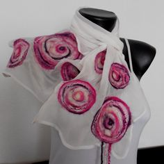 Nuno Felted White Shawl Silk Felt Multicolor от DjenkaScarves