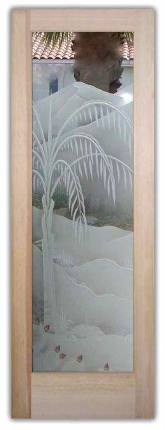 Queen Palm 3D w/Blooms in Color Door by Sans Soucie Art Glass. Glass Front Doors.
