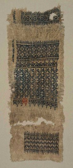 Sampler fragment, mamluk 1300 - 1420. Egypt.  Linen plain weave embroidered with silk. 45.5 x 17.5 cm (17 15/16 x 6 7/8 in.)  Accession Number      48.1053  Undyed tabby-woven linen ground embroidered with blue and red silk and undyed linen. Bands of varying widths showing small-scale geometric and conventionalized floral ornament. Soiled, stained; hole; frayed edge.    http://www.mfa.org/collections/object/sampler-fragment-49673