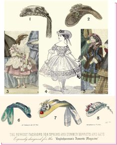 Fashion plates with fabric covered and straw versions of similar hats