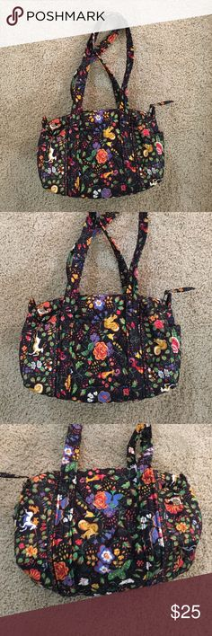 """Vera Bradley black print quilted shoulder bag Vera Bradley quilted black print shoulder bag with zip top and small inside zip pocket. Dimensions: 10"""" long, 6"""" tall, 6"""" wide. Two matching fabric 1"""" wide straps, 30"""" long with a 14"""" drop. Vera Bradley Bags Shoulder Bags"""