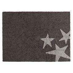 PROMOTION – Tapis de sol enfant 120×160 cm Gris foncé étoiles gris clair