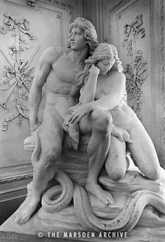 Adam and Eve Statue by Carl Roder 19th Cent
