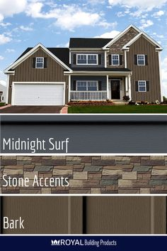Haven Insulated Siding In Midnight Surf With Stone Accent Details And Bark Board