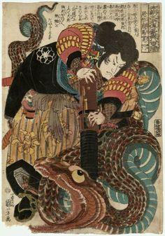 "Kuniyoshi, from the series Eight Hundred Heroes of the Japanese Shuihuzhuan (Honchô Suikoden gôyû happyakunin no hitori), ""Ogata Shûma Hiroyuki"", c. 1845"