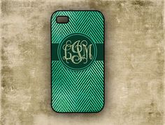 Iphone 4 cover - Grunged teal and turquoise monogrammed chevron - personalized Iphone 4s case (9890). $16.99, via Etsy.