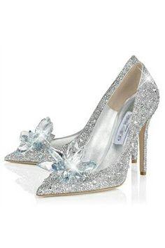 Crystal Covered Pointy Toe Pump Cinderella Slipper Cinderella