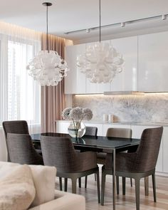 Gorgeous white kitchen mit marble elements and a constrasting, dark dining area…. Gorgeous white kitchen mit marble elements and a. Küchen Design, Design Ideas, Dining Room Design, Dining Room Colors, Modern Interior Design, Diy Interior, Kitchen Interior, Living Room Decor, Home Decor
