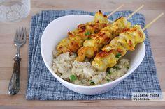 Pinchos de poll al curry con quinoa. Receta saludable