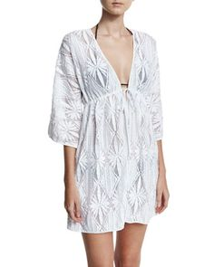 Ava+Floral+Crochet+Coverup+Dress,+White+by+Milly+at+Neiman+Marcus.
