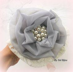 Toss Bouquet  Ivory Grey Blush Brooch Bouquet Toss by SolBijou