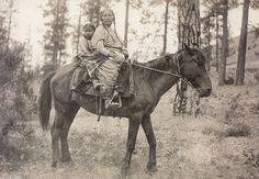 Kalispel woman and child on horseback, ca. 1910. Flathead Reservation, Montana. Photograph by Henry Fair. (P4166)