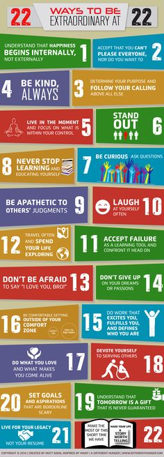 22 Ways to Be Extraordinary at 22 #infographic #Life #Teen #Health