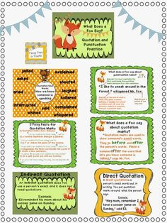 What Does a Fox Say? Quotation and Punctuation Practice: 5 Anchor Posters, 3 practice activities great for partner or individual work, 24 task cards to use in centers and a Writing with Dialogue Craftivity Fancy Free in 4th