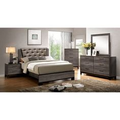 Furniture of America Manvel 4 Pieces Two-Tone Antique Gray Finish Queen Bedroom Set Grey Bedroom Set, King Size Bedroom Sets, Queen Bedroom, Master Bedroom, Bedroom Bed, Bedroom Colors, Bed Room, Master Suite, Contemporary Bedroom Furniture