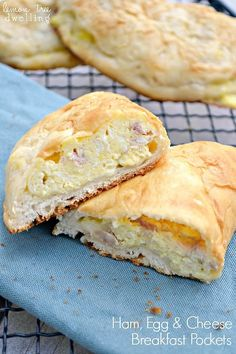 Ham, Egg & Cheese Breakfast Pockets - a delicious breakfast you can eat with your hands! Perfect for a busy morning or breakfast on the go! It has come to my attention that breakfast time around here need some serious work. And yes, I admit, I've been getting into the habit of offering either toast or cereal for breakfast....every morning. And yes, of course, I knew it was only a matter of time before the troops rallied against me. Well, that time has come! There has been a serious up...