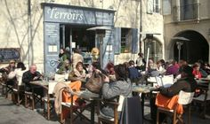 Terroirs in  Uzes, café on  Place des Herbes Uzes,- Wed. is market day