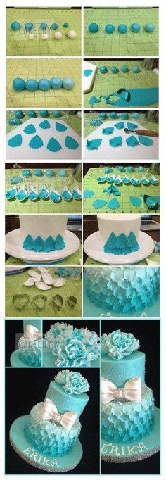 Gorgeous Tiffany blue cake! Would be super cute for a little girls first bday party