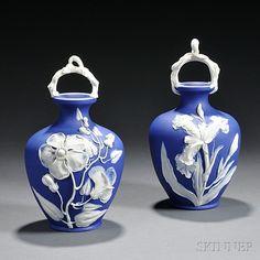 Pair of Wedgwood Dark Blue Jasper Dip Vases | Sale Number 2776B, Lot Number 331 | Skinner Auctioneers