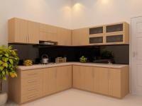 Tủ bếp gỗ công nghiệp giá rẻ, thiết kế đơn giản kiểu cánh phẳng