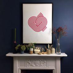 Stripy Heart print (unframed) Silk Screen Printing, Heart Print, One Color, Modern Design, Studio, Paper, Prints, Screen Printing Press, Screen Printing