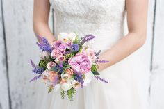 Purple and Pink Bouquet With Peonies and Lavender
