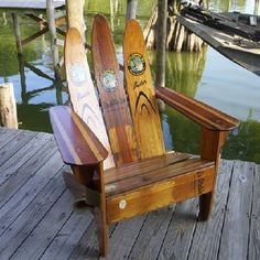 Ideas for old water skis!!! Great for boat house fire pit! See our Log Cabin Rental at: homeaway.com/3736915 or parkerscozycabin.com. Located near St. Helen, West Branch, Houghton Lake and Gladwin, Michigan.
