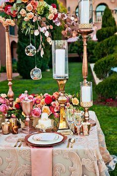 Rose Gold Wedding Centerpiece - Deer Pearl Flowers / http://www.deerpearlflowers.com/reception-decor/rose-gold-wedding-centerpiece/