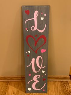 Love sign, V-day porch board, 3 foot, 3 ft sign Diy Valentine's Day Decorations, Valentines Day Decorations, Handmade Decorations, Valentine Banner, Valentine Wreath, Valentine Day Crafts, Country Scents Candles, Halloween Wood Crafts, Porch Signs