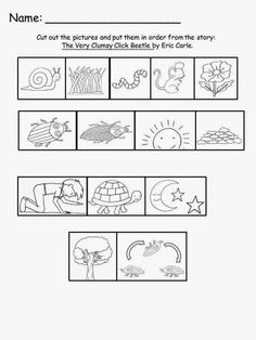 Free: Eric Carle's The Very Clumsy Click Beetle Sequencing Sheet.  For Educational Purposes Only...Not For Profit.  Have your students sequence the story with these hand drawn pictures.  For A Teacher From A Teacher! Enjoy! Regina Davis aka Queen Chaos at Fairy Tales And Fiction By 2.