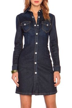 Simple Style Shirt Collar Solid Color Long Sleeve Sheathy Denim Dress For Women