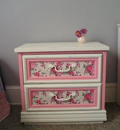 Girly revamped nightstand in pink, cream, and florals. $130.00, via Etsy.