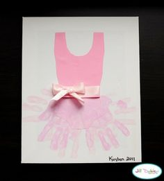 Hand print tutu & 58 more hand and footprint art projects. Kids Crafts, Cute Crafts, Crafts To Do, Projects For Kids, Craft Projects, Arts And Crafts, Dance Crafts, Ballet Crafts, Kids Diy