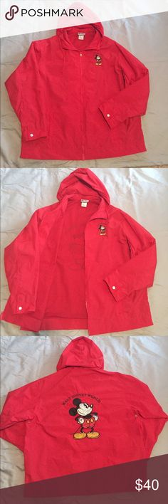 🔴Disney Mickey Rain Parka🔴 Red Disney Rain Parka, purchased at Disney World, only worn a couple times. Zips up the front and has mesh lining with a hood. Disney Jackets & Coats