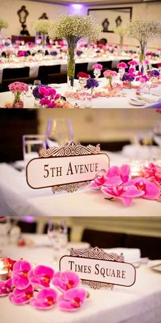 #DIY reception table numbers - Use New York street names as table numbers. Photo by Sheer Image Photography.