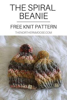 The Spiral Beanie - Free Knitting Pattern (Amazing Knitting) Baby Knitting Patterns, Baby Hats Knitting, Loom Knitting, Free Knitting, Crochet Hats, Chunky Crochet, Loom Knit Hat, Chunky Knits, Loom Patterns