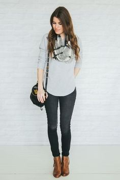 Gray tee, black jeans, ankle boots