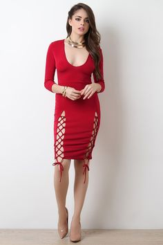 Side Lace-Up Scoop Neck Bodycon Dress   #ladiesfashion #ladiesboots #casualdresses #ladiestop #womensfashion #womenshoes #womenboots