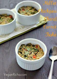 Millet Chickpea Chard Carrot Breakfast Bake. Vegan Glutenfree recipe