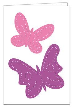 Grußkarte zum Prickeln - Schmetterlinge Lila/Rosa - mit farbigem Umschlag