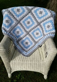 Blue and Grey Granny Square Baby Blanket by ThelmasGifts on Etsy