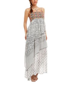 Love this Black & Gray Geometric Maxi Dress on #zulily! #zulilyfinds