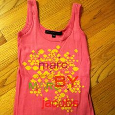 Marc Jacobs Pink Tank Top Pink tank top with yellow, purple, pink, green and orange designs on front. Plain pink back side. Worn once. Marc by Marc Jacobs Tops Tank Tops